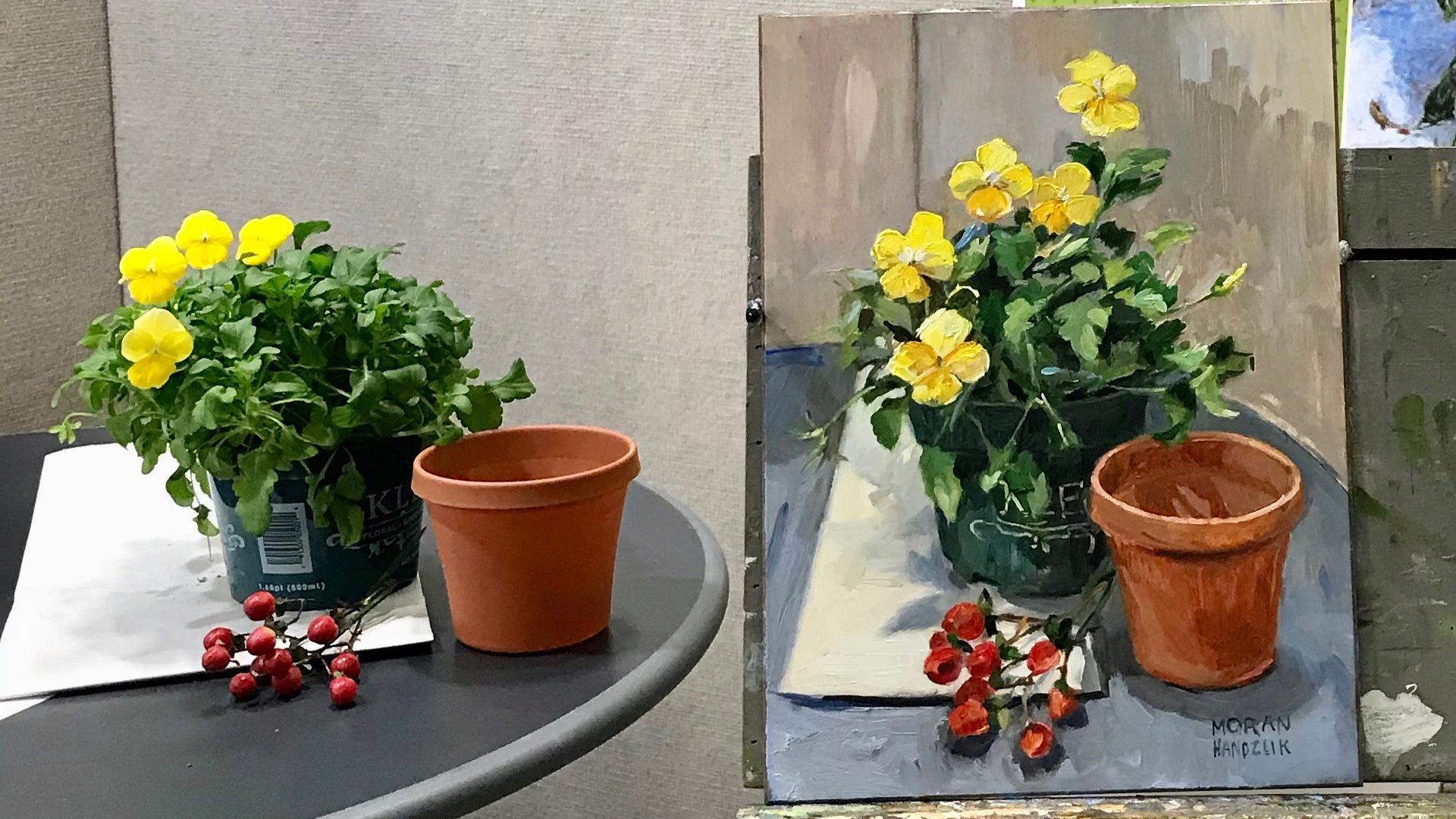 Still life painting of garden pot, berries, and yellow flowers